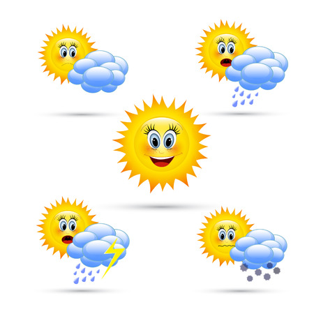 hot weather: Cartoon weather icons.