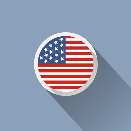 米国の旗のボタン アイコン  イラスト・ベクター素材