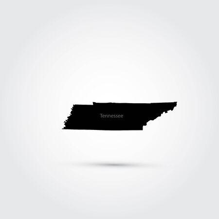 tennessee: Mapa del estado norteamericano de Tennessee Vectores