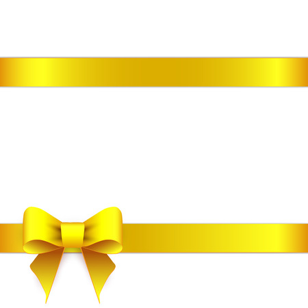 Yellow ribbon bow horizontal border Ilustracja