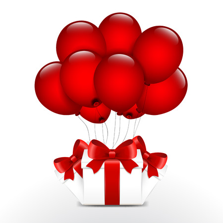 red balloons: Birthday gifts with red balloons