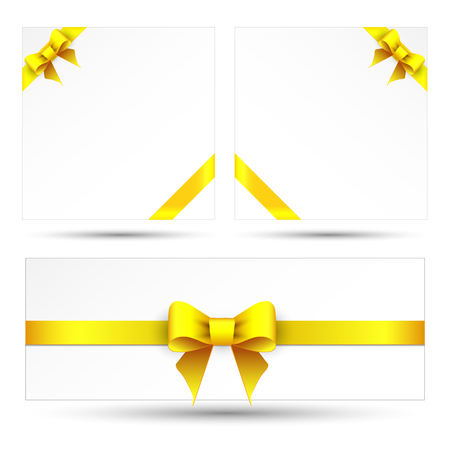 yellow card: Set yellow gift bows with ribbons Illustration