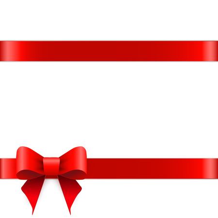 red ribbon bow: Red ribbon bow horizontal border