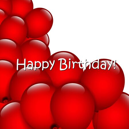 red balloons: Birthday background with red balloons Stock Photo