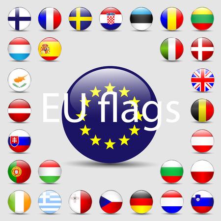 Vector set of European Union web button