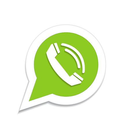 phone handset: Green phone handset in speech bubble icon Illustration