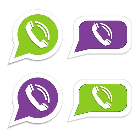 friend  nobody: Phone handset in speech bubble icon Illustration
