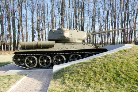 militarily: ORYOL, RUSSIA - November 02, 2014: Monument to the Russian T-34 tanks
