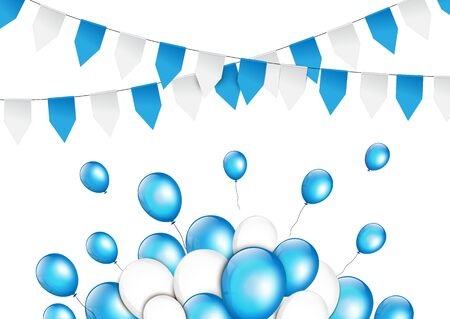 balloon background: Balloons with paper garlands in traditional colors of Bavaria