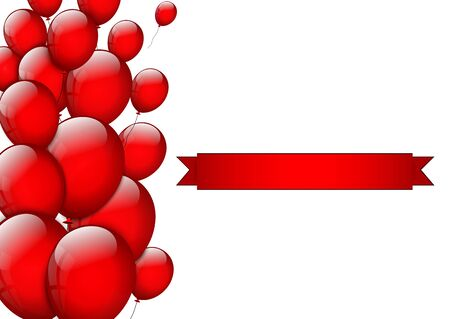 red balloons: Red balloons with space for text Illustration