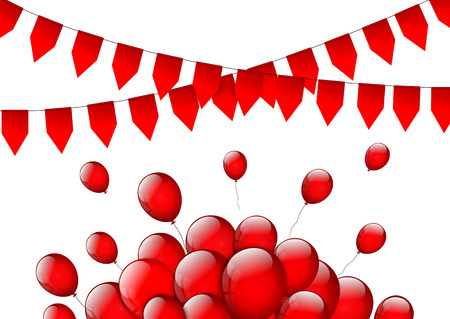 beam with joy: Birthday or party background with flags and balloons