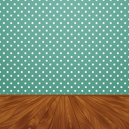 green wallpaper: Room with wooden floors and green wallpaper on the walls