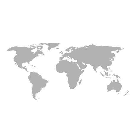 Gray world map on white background Stock Illustratie