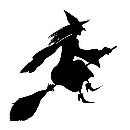 brujas caricatura: Bruja en una escoba. Negro silueta.
