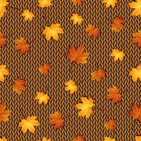 leafage: Seamless pattern. Autumn maple leaves on the knitted background