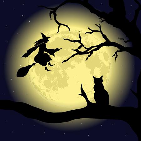 harridan: Black Cat on the Tree at full Moon
