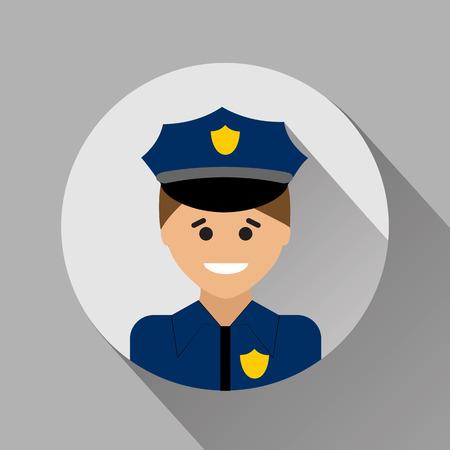 seguridad en el trabajo: El policía icono de estilo plano