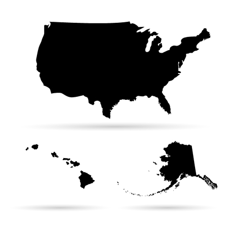 silhouette america: United States of America Map Illustration