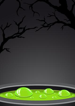 pócima: Fondo de Halloween con la poción verde y lugar para el texto