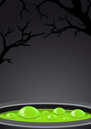 potion: Halloween background with green potion and place for text