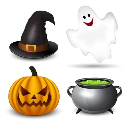 cute ghost: Halloween icons-set Illustration