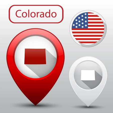flag of colorado: Set of Colorado state with flag of America and map pointer Illustration