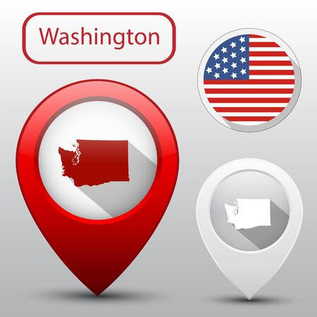 washington state: Set of Washington state with flag america and map pointer