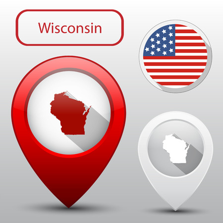 wisconsin state: Set of Wisconsin state with flag america and map pointer