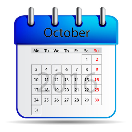 październik: October 2016 calendar.
