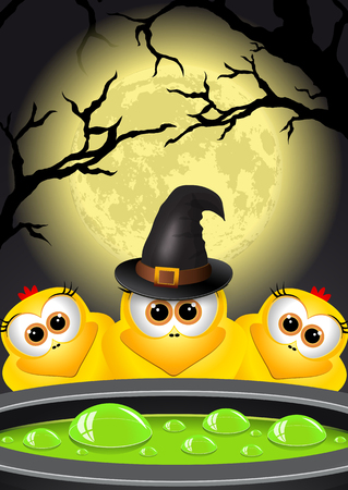 magic cauldron: Postcard Halloween. Witches brews a magic potion in cauldron.
