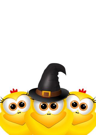 brujas caricatura: Postal de Halloween con los pollos. Pollo con sombrero de bruja.