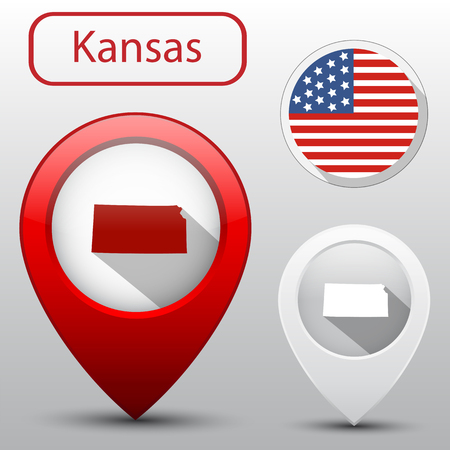 subdivision: Set of Kansas state with flag america and map pointer Illustration