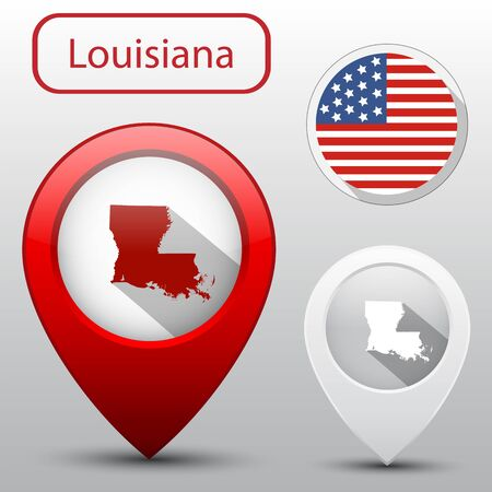 louisiana flag: Set of Louisiana state with flag america and map pointer