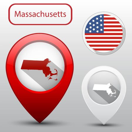 Set of Massachusetts state with flag america and map pointer Ilustrace