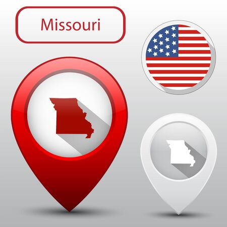 subdivisions: Set of Missouri state with flag america and map pointer Illustration