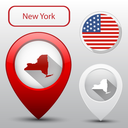 new york state: Set of New York state with flag america and map pointer
