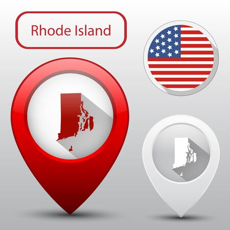 island state: Set of Rhode Island state with flag america and map pointer