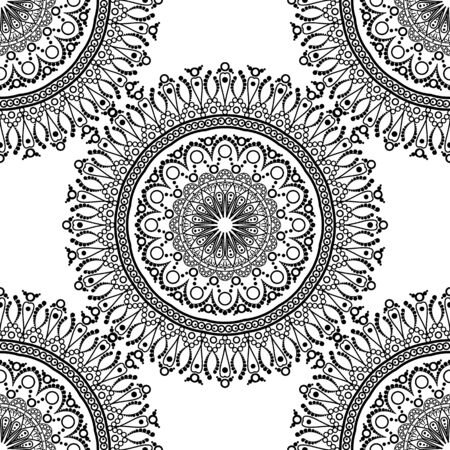 fabric painting: Seamless pattern. Mandala with decorative ornament.