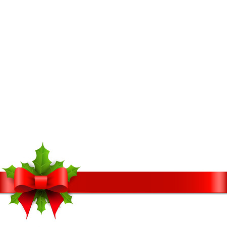 green banner: Christmas red bow with holly. Vector illustration.
