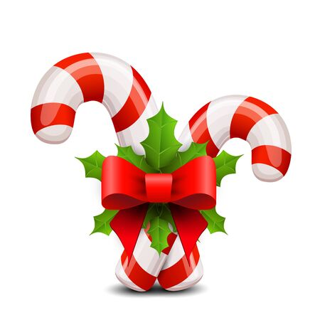 Christmas candy cane decorated with a bow and holly. Vector.