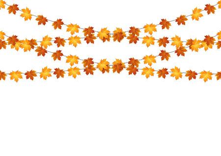 秋はカエデの葉が白い背景の上の花輪。ベクトル。