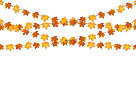 Fall Festival: Garlands of autumn maple leaves on a white background. Vector.