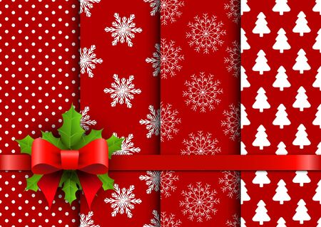 red christmas background: Set christmas red seamless vector backgrounds. Vector illustration