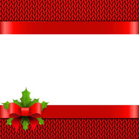 bow: Christmas background with bow and holly berries on red knitted pattern