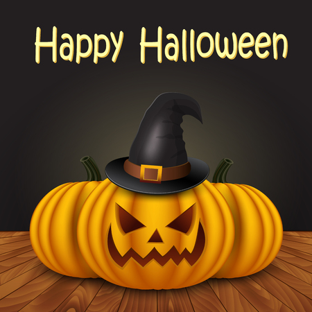 frightful: Halloween pumpkin with witches hat. Vector illustration.