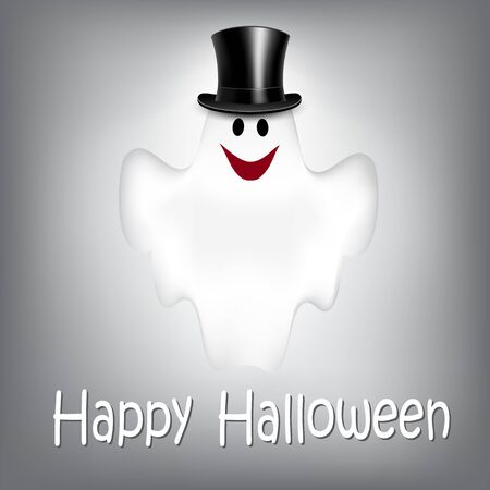 ghost: Halloween Background with Ghost. Vector illustration. Poster.