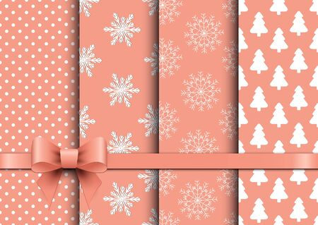 christmas backgrounds: Set christmas seamless vector backgrounds.  Vector illustration.
