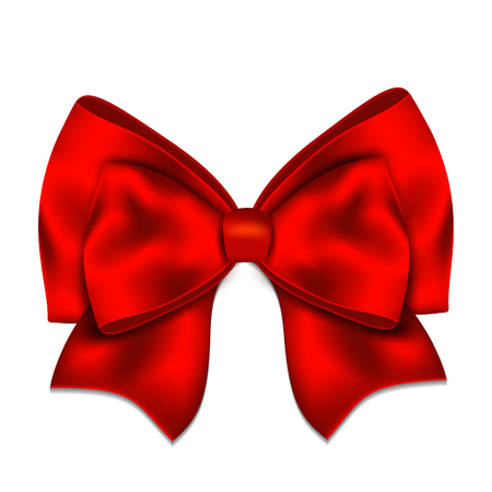 Realistic red bow isolated on white background. Vector illustration.