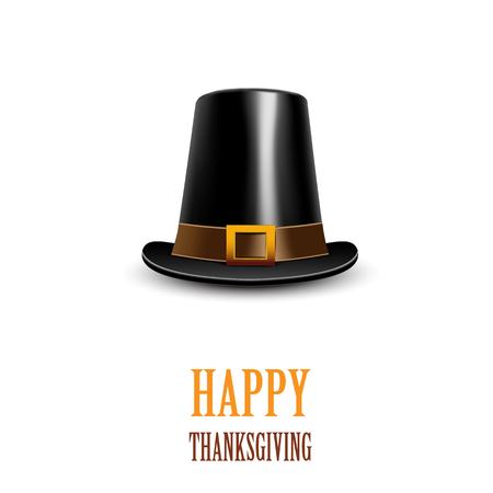 ? ?   ? ?    ? ?   ? ?  ? ?  ? hat: sombrero de peregrino en un fondo blanco. símbolo de Acción de Gracias. Ilustración del vector.