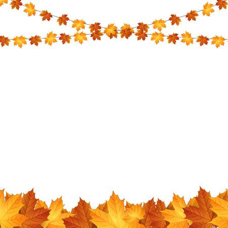 fond de texte: Fond d'automne avec des feuilles d'�rable.